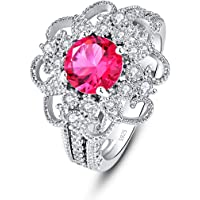 Empsoul 925 Sterling Silver Women's Created Round Filled 7x7mm Ruby Spinel Flower Cluster Dainty Beautiful Bridal…