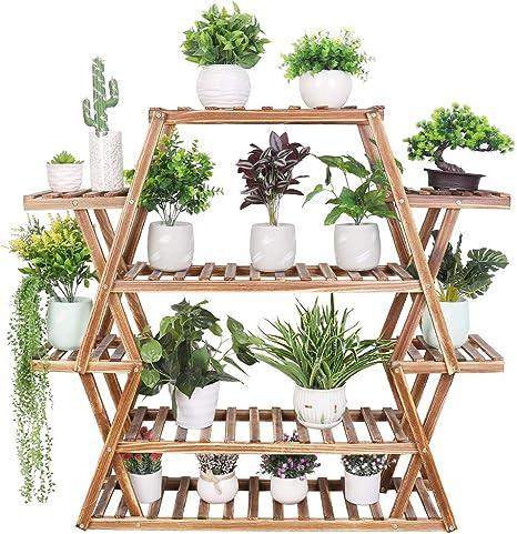 Medla Estantería para Macetas de Madera, 95 x 25 x 105.5cm Soporte para Plantas con 8 Estantes, Estantería Decorativa de Flores para Jardín Exterior ...