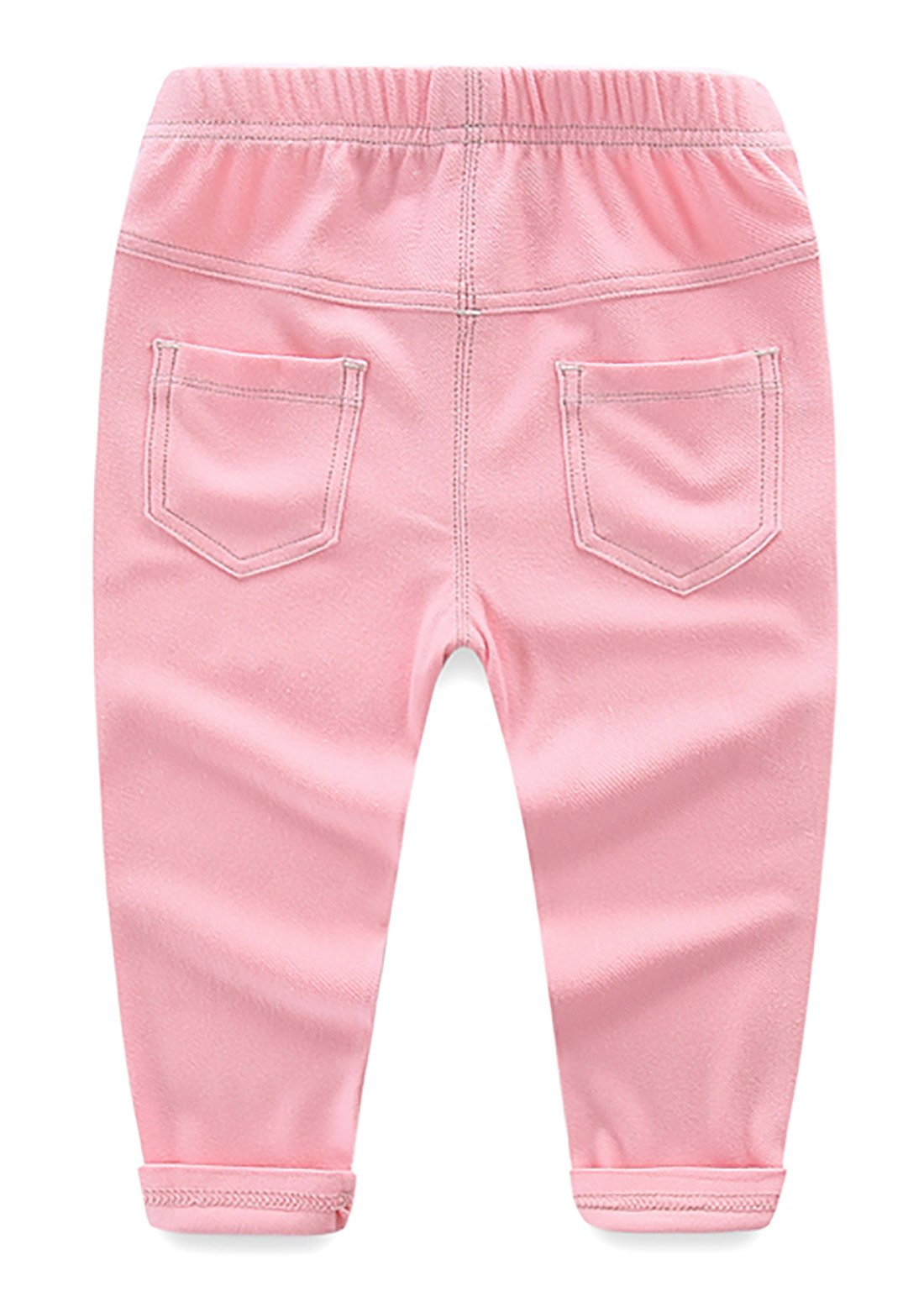 Baby Girls Denim Jeans Stretchy Leggings Pants Cotton Breathable Trousers Elastic Waist Summer Pants for Baby Boys Girls 0-6 Months Pink by MMWORM (Image #2)
