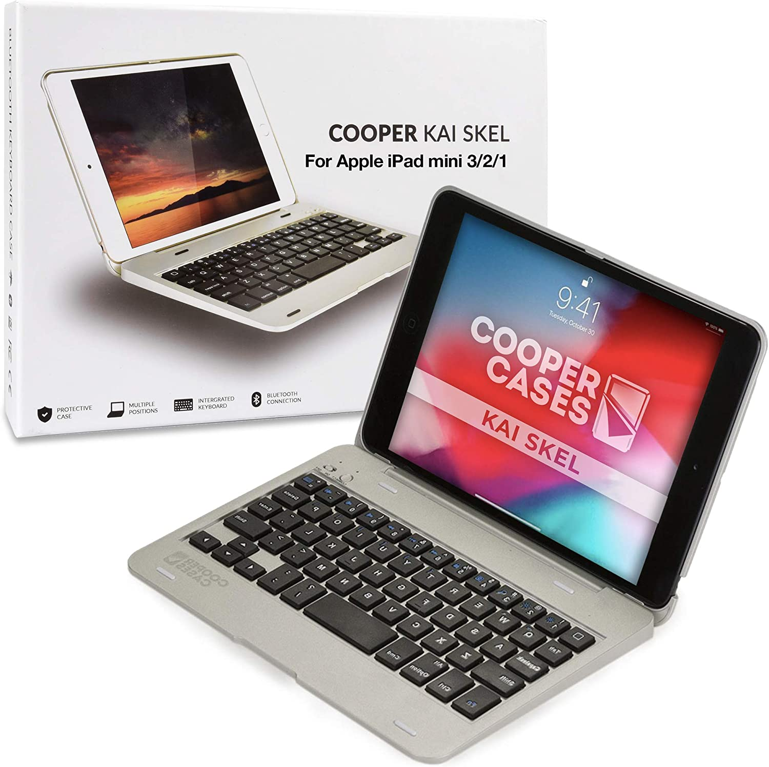 COOPER KAI SKEL P1 Bluetooth Wireless Keyboard Case Compatible with iPad Mini 1 2 3 | Portable Laptop Macbook Clamshell Case Cover with 13 Shortcut ...