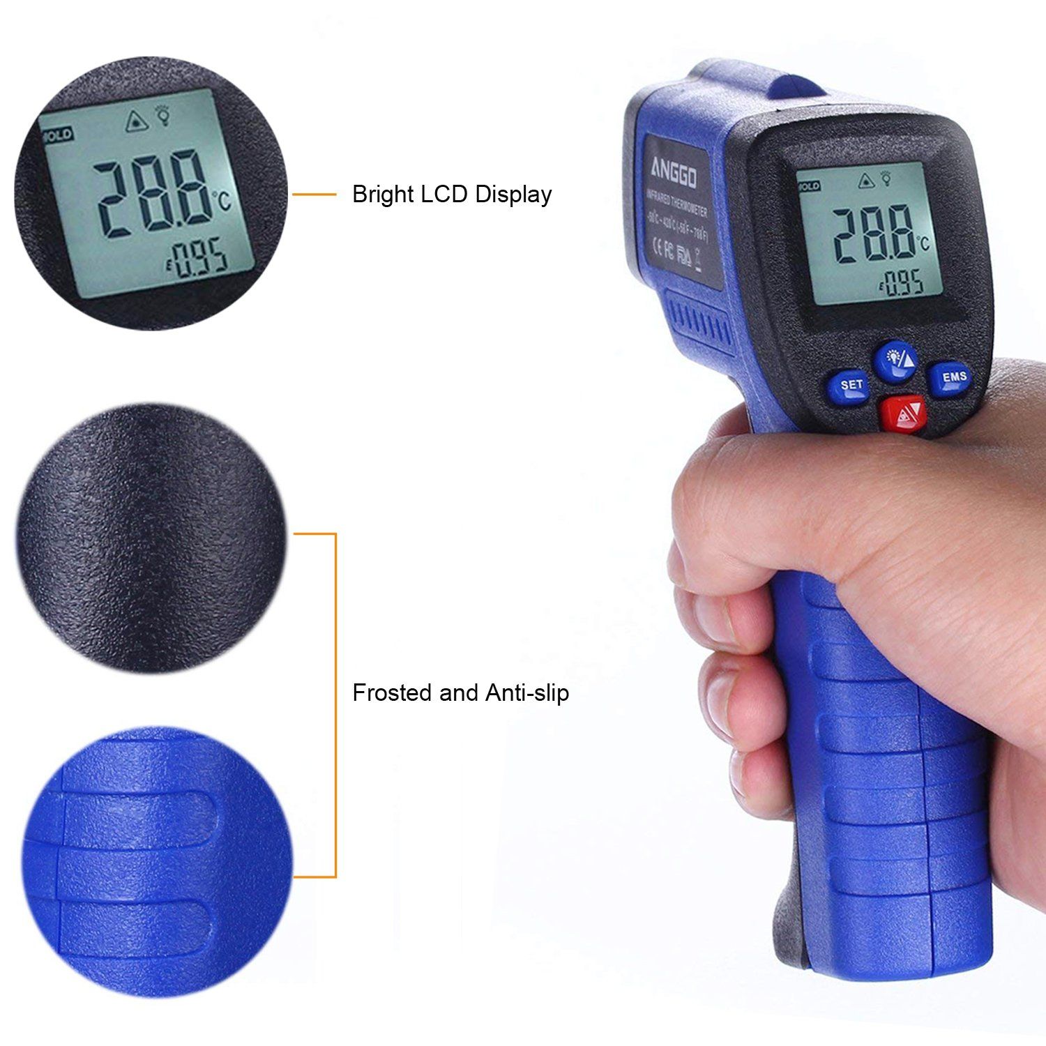 ANGGO Non-contact Digital Infrared Thermometer Temperature Gun with EMS Adjustable (-58 °F to 788°F) by ANGGO (Image #5)