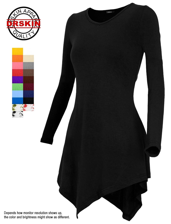 DRSKIN] Women Handkerchief Hem Long Sleeve Tunic Top at Amazon ...