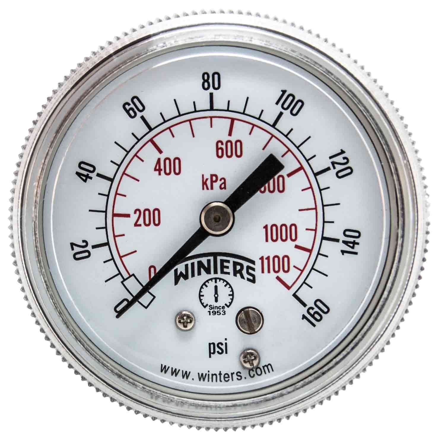 Winters P9S 90 Series Steel Dual Scale Pressure Gauge with Removable Lens, 0-160 psi/kpa, 2' Dial Display, +/-2-1-2% Accuracy, 1/4' NPT Center Back Mount 2 Dial Display 1/4 NPT Center Back Mount P9S901409