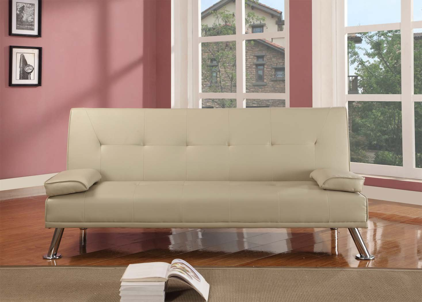 Comfy Living Large Stunning Italian Designer Faux Leather 3 Seater Sofa Bed Futon in CREAM