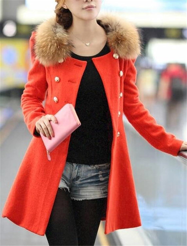 Women's Fashion Solid Pleated Hem Outerwear Jacket Wool Coat