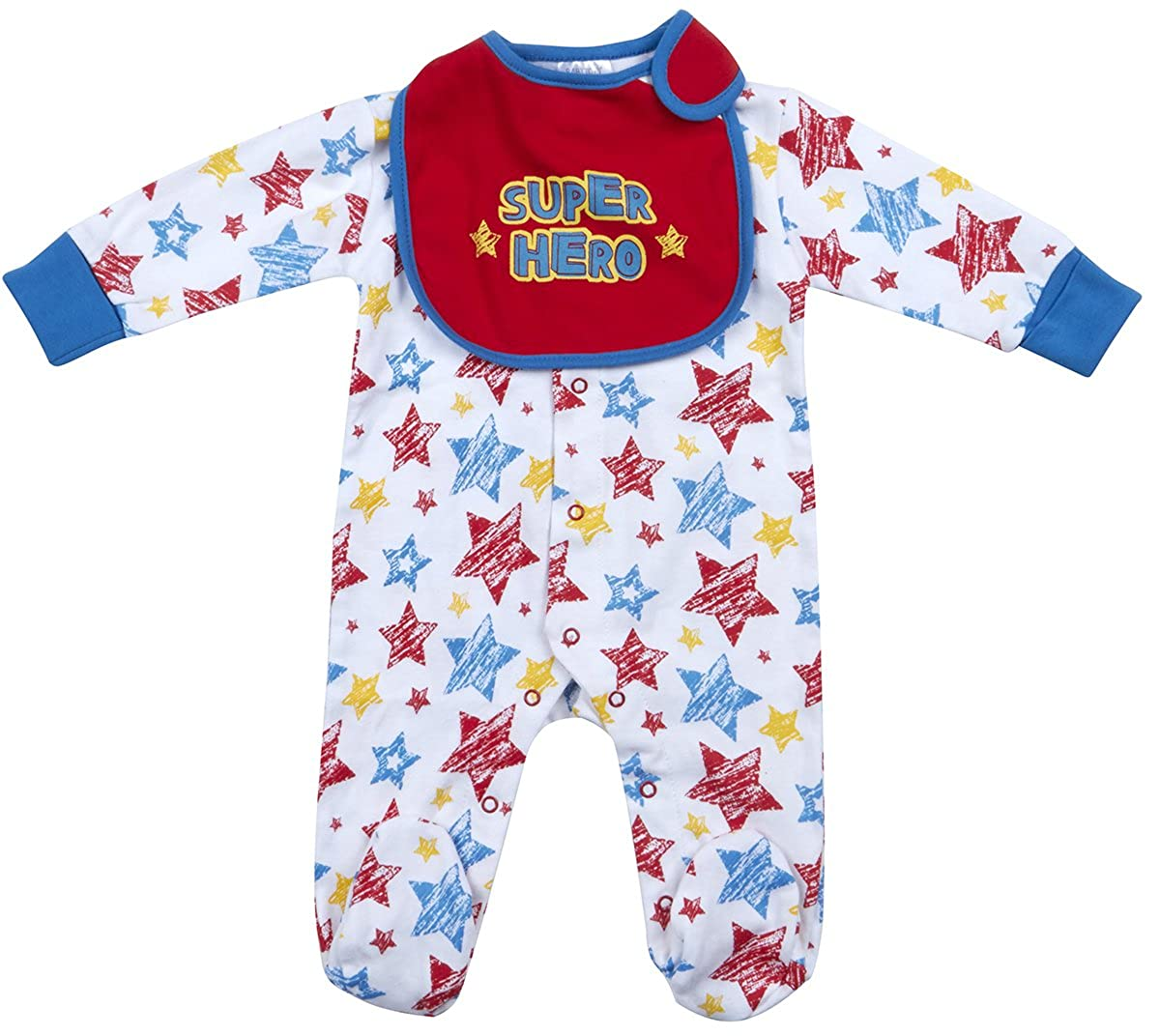 BABYTOWN Baby Boys Sleepsuit All Over Star Print Superhero Cape Bib