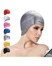 Gorra de natación Orejas para Cabello Largo Sombrero de natación de  Silicona Unisex Adultos Niños Gorras 5cb32512b9d