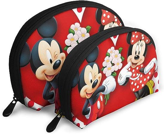 JINUNNU - Bolsa de Maquillaje de Mickey Mouse Minnie Love Couple Heart Cosmetics, Bolsa de Mano portátil con Cremallera, 2 Unidades: Amazon.es: Hogar