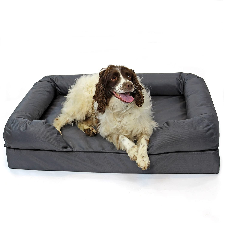 Large Easipet Grey Orthopaedic Waterproof Memory Foam Dog Sofa Bed (Large)