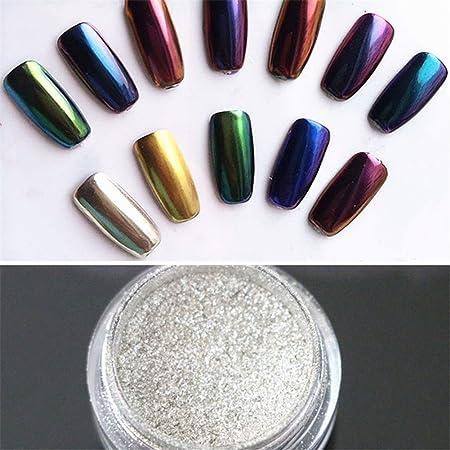 Noza Tec - 2pcs Espejo Cromado pigmento en polvo oro plata uñas efecto brillante nail arte manicura de uñas Salon Tips 1 G/caja (oro + plata) con esponja ...