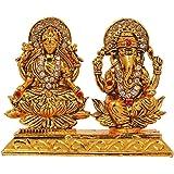 Vinocha's Brass 24 K Gold Plated with Stones Lord Laxmi Ganesha Statue Hindu Goddess Laxmi and God Ganesh Handicraft Idol Diwali Decorative Spiritual Puja Vastu Showpiece Figurine - Religious Pooja Gift Item & Murti for Mandir / Temple / Home / Office.FREE HOME DELIVERY