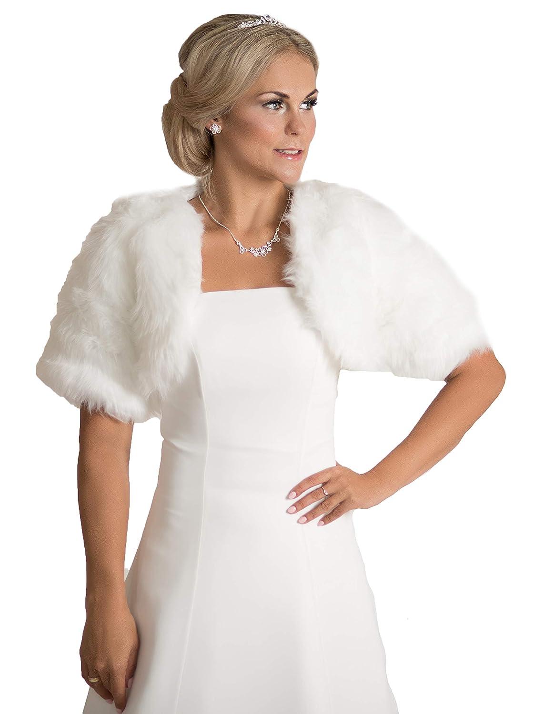Brautjacke Bolero Fell Weiß Ivory Winter Hochzeit Wedding Bridal kunstpelz*18