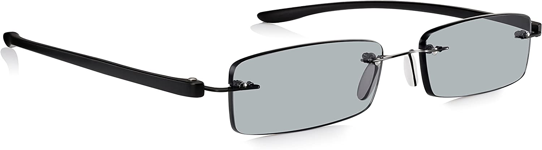 Gafas de Sol de Lectura READ OPTICS Graduadas desde +1 hasta +3.5 Dioptrías: Lentes para Leer Tintadas con Protección UV-400 100% Rayguard™ | Sin marco con Varillas Resistentes Negras | Hombre/Mujer