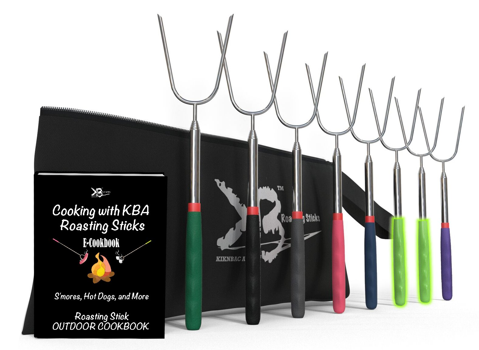 Marshmallow Roasting Sticks Long 45'' - | Set of 8 | Premium Smores Sticks for Fire Pit, 6 Different Colors and 2 Glow in The Dark, Kids Camping Accessories Kit with E-Book for Campfire Cooking Fun