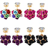 Jewels Galaxy Multicolored Copper Made Elegant Floral Crystal Earrings Collection -Combo of 4 for Women