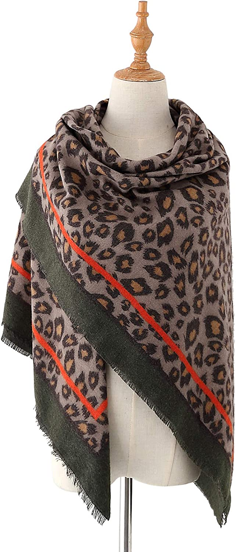 EXCHIC Damen Oversized Leopardenschal Winter warme Schal