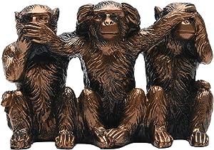 "BRASSTAR Three Monkeys Statue See-No Speak-No Hear-No Evil Brown 2.8"" Resin Home Office Decoration Gifts PTZD047"