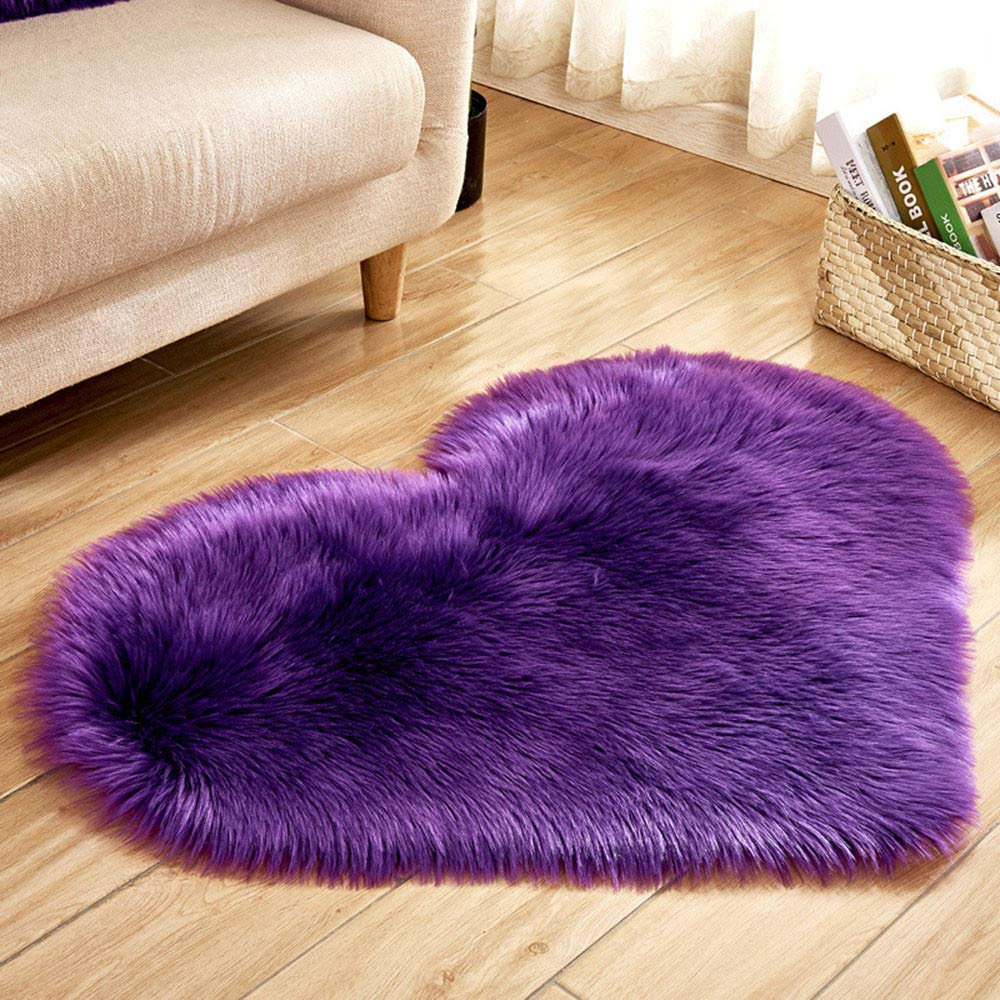 Soft Fluffy Rugs Faux Fur Area Rug, Fur Rugs for Bedroom, Fuzzy Carpet for Living Room, Heart Shaped
