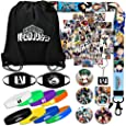 My Hero Academia Gift Sets, Including Cute Laptop Stickers, Drawstring Bag, Bracelets, Lanyard, Face Masks, Button Pins, Phone Ring Holder, Keychain