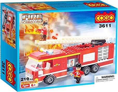 Cogo - Camión de Bomberos 3611 - Bloques de construcción 219 Piezas: Amazon.es: Juguetes y juegos