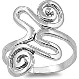 Princess Kylie 925 Sterling Silver Zig Zag and Loops Ring