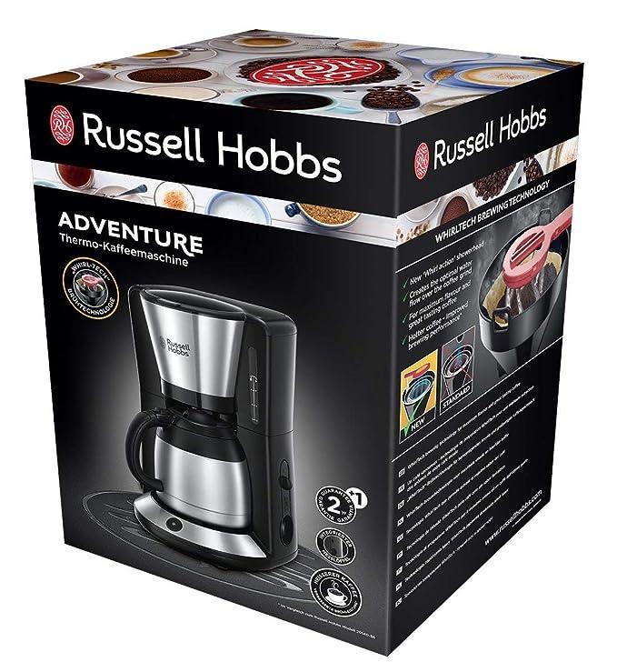 Russell Hobbs Adventure 24020-56 - Cafetera de Goteo, Jarra Cafetera Térmica para 12 Tazas, Inox, 1100 W, Gris