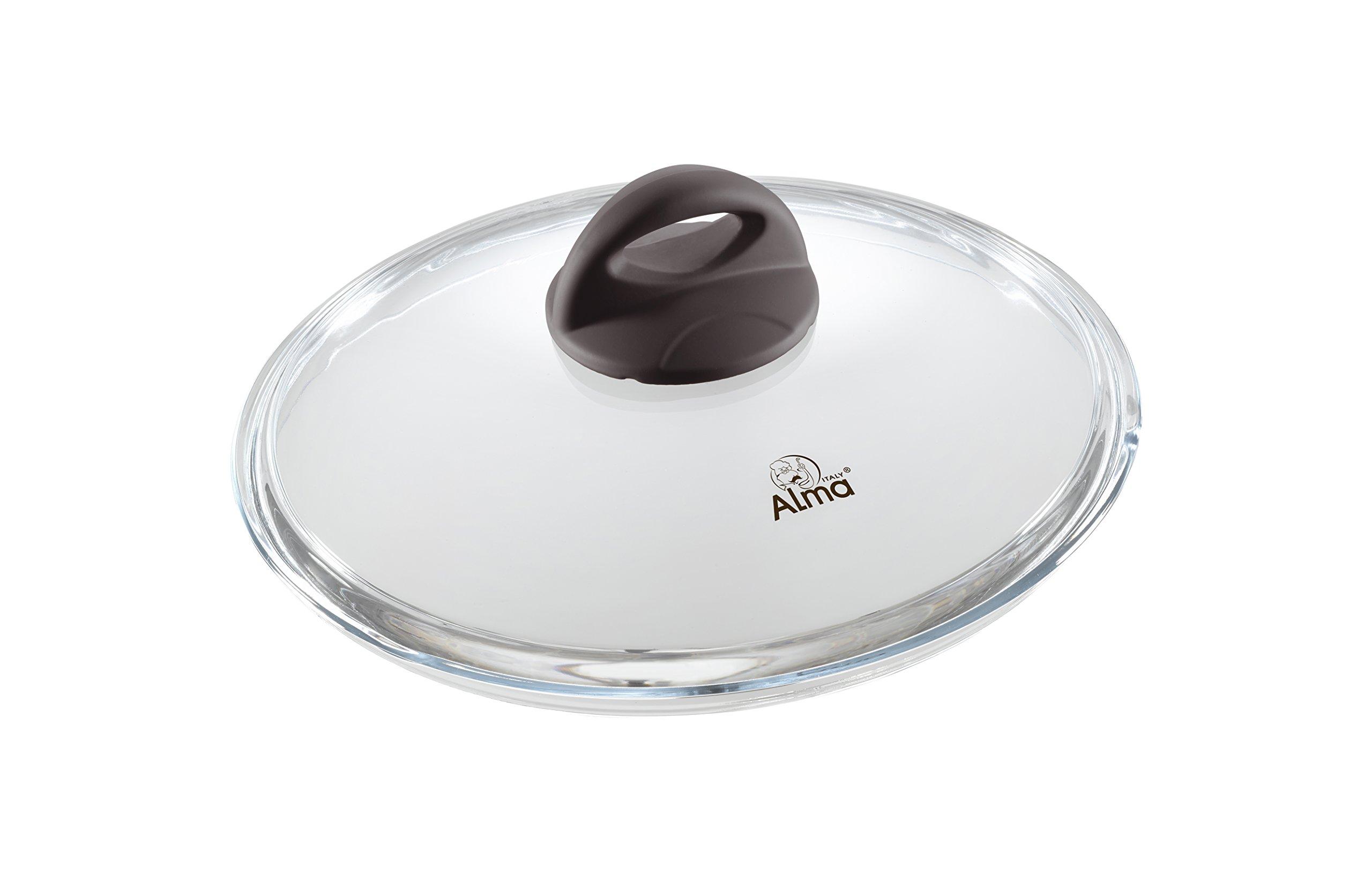 ALMA Cookware Egizia, Borosilicate Glass with Soft Knob, Borosilicate Glass, Brown, 20 cm