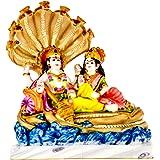 Divine Gifts Vishnu Laxmi White Gold |marble statue | murti for pooja room | idols home decor