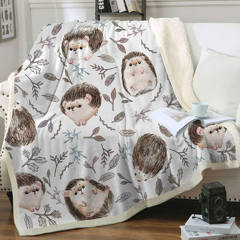 Zevrez Hedgehog Blanket, Soft Kids Throw Blanket with Super Cute Hedgehog Pattern Hedgehog Gifts for Girls Women Hedgehog Lovers Cozy Flannel Fleece Blanket(48