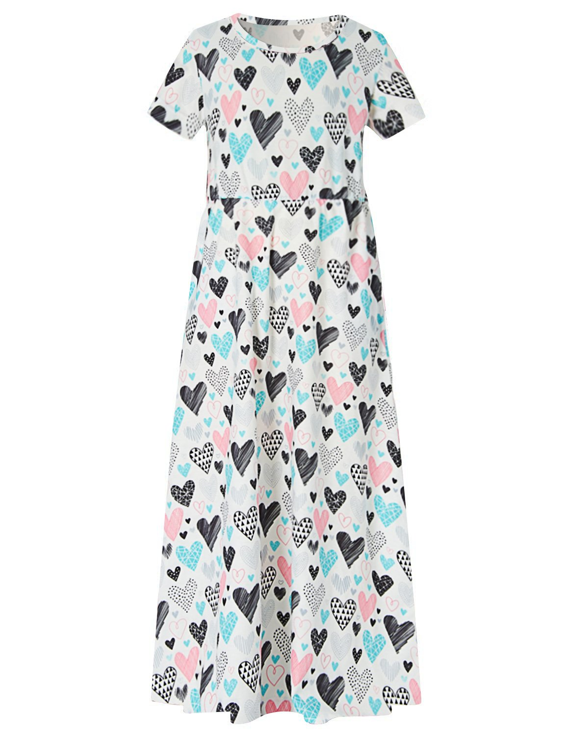 Girl's Short Sleeve Maxi Dress Summer Love Printed Long Dress 10-12 Years