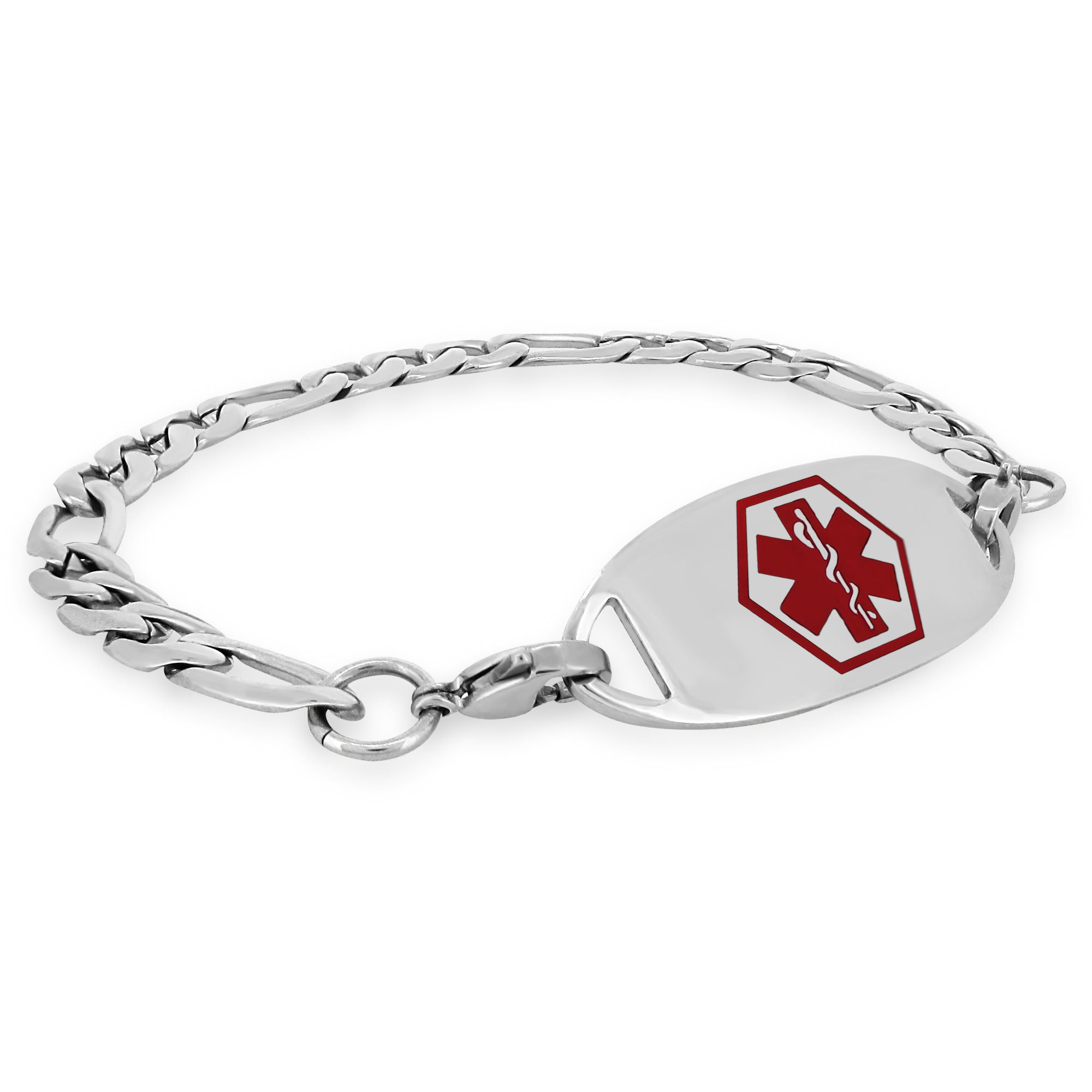 MedicEngraved Custom 316L St. Steel Medical ID Bracelet with Red Enamel Tag Engraving Included 8in