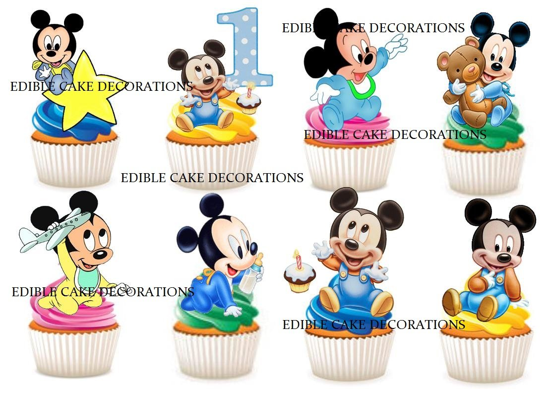 Incredible 30 X 1St Birthday Boy Mickey Mouse Party Stand Up Edible Paper Personalised Birthday Cards Petedlily Jamesorg
