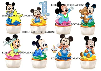 Tremendous 30 X 1St Birthday Boy Mickey Mouse Party Stand Up Edible Paper Personalised Birthday Cards Veneteletsinfo