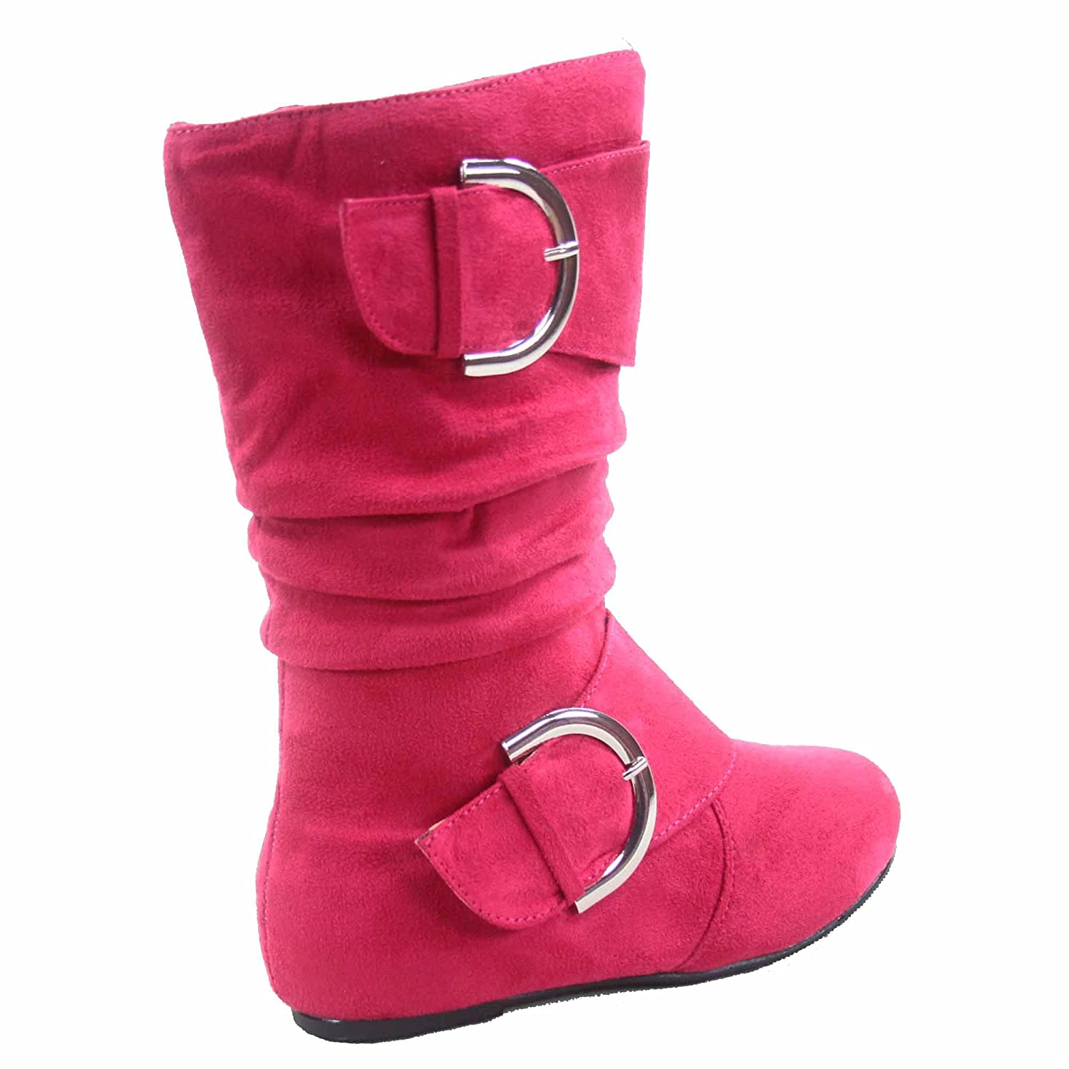 Lucky Top Youth Kids Girls Mid-Calf Flat Slouch Zipper Boots