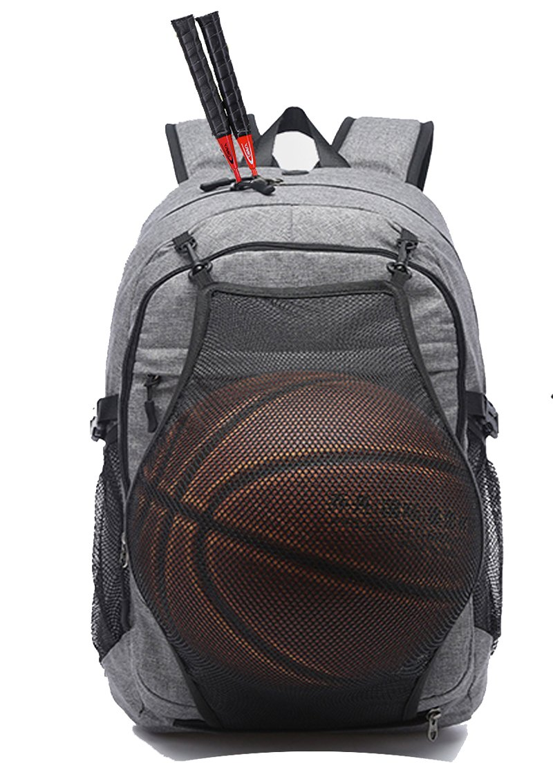 KOLAKO Business Laptop Backpack, Outdoor Travel Bag with Basketball Net Headphone Port and USB Ports Water Resistant College School Backpack for Women/men, Fits UNDER 15.6 inch Laptop & Tablet(Gray)