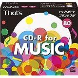 太陽誘電製 That's CD-R音楽用 24倍速80分 ワイドプリンタブル インデックスカード付 5mmPケース10枚入 CDRA80WWY10ST