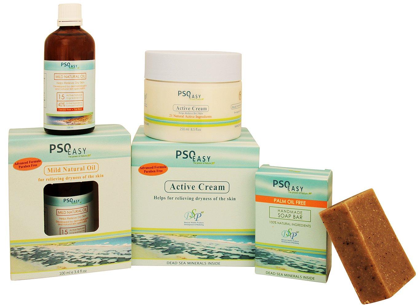 PSOEasy Psorasis Treatment Kit - Psoriasis Cream 250 ml - Mild Natural Oil - Psoriasis Soap - Contains Dead Sea minerals
