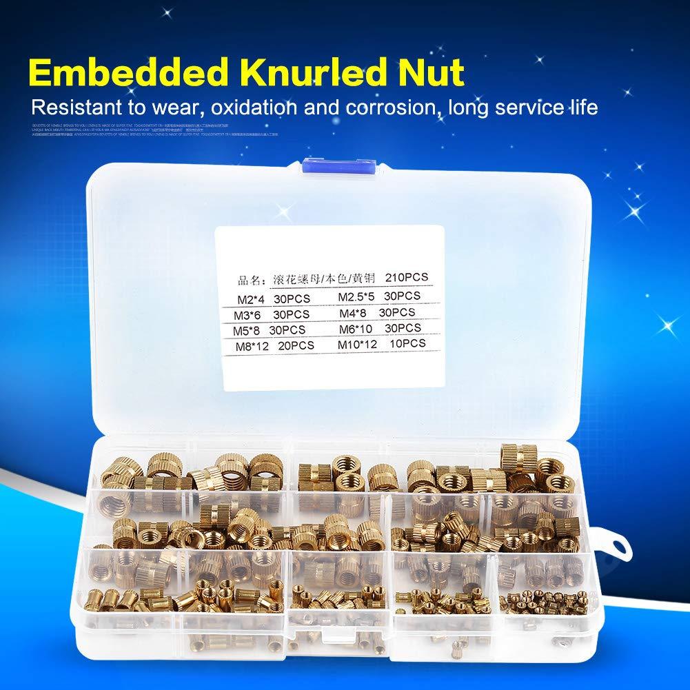 Knurled Nut M2 M2.5 M3 M4 M5 M6 M8 M10 Brass Cylinder Knurled Threaded Round Insert Embedded Nuts