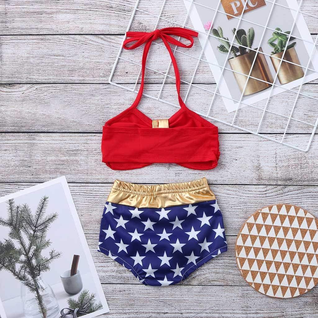 Tronet Infant Kids Baby Girls Swimwear Star Straps Swimsuit Bathing Bikini Set Beach