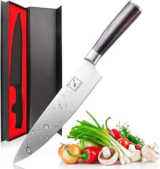 Amazon.com: Cuchillo de chef de 8 in de acero inoxidable de ...