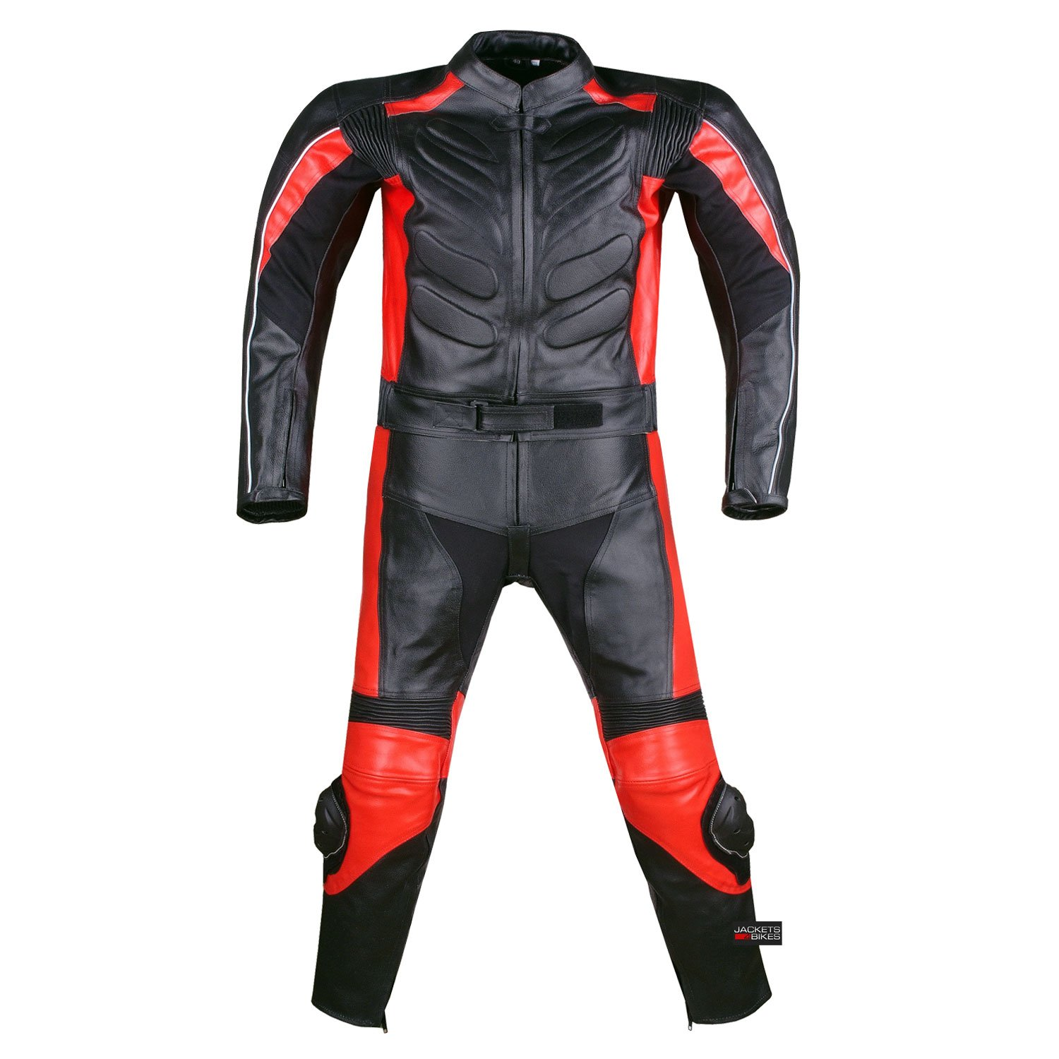 New Men's 2PC Motorcycle Leather Racing Armor Suit 2 PC Two Piece Red US 38 by Jackets 4 Bikes