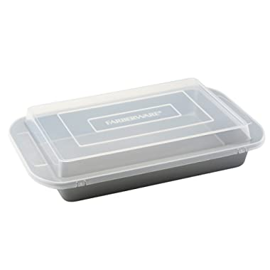 Farberware Nonstick Bakeware 9-Inch x 13-Inch Covered Rectangular Cake Pan, Gray