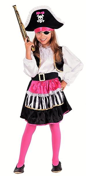 acfcad70fd623 Magicoo Lady Piratin Piratenkostüm Kinder Mädchen Pirat-Kostüm Piratin  inkl. Piratenkleid & Hut - Pink-schwarz-weiß - (110/120)
