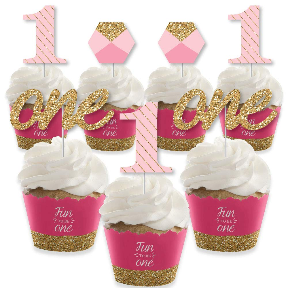 1st Birthday Girl - Fun to be One - Cupcake Decoration - First Birthday Party Cupcake Wrappers and Treat Picks Kit - Set of 24