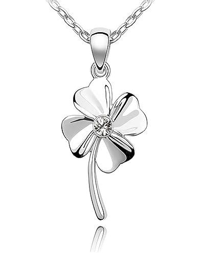 QUADIVA E! Damen Halskette mit Kleeblatt -Anhänger (Farbe: weißgold) verziert mit einem funkelnden Kristall von Swarovski®