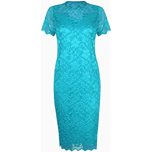 Womens Lace Lined Ladies Short Sleeve Bodycon Midi Dress