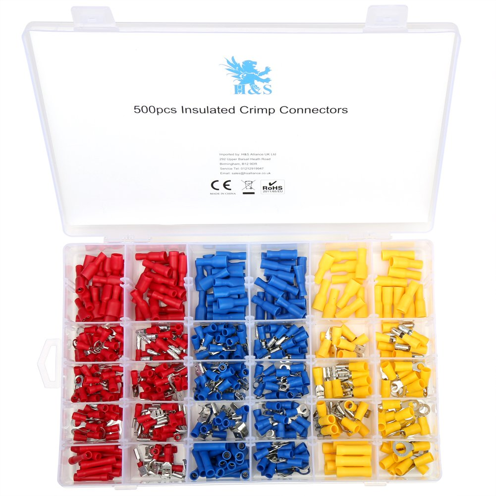 H&S 500pcs Electrical Wire Connector Assorted Insulated Crimp ...