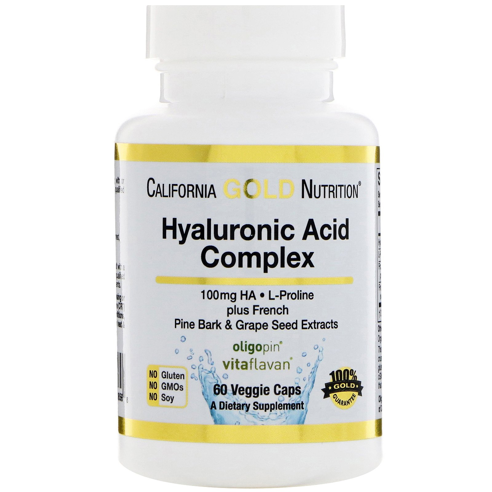 California Gold Nutrition, Hyaluronic Acid with L-Proline French Pine Bark Grape Seed Extracts, 100 mg, 60 Veggie Caps, Milk-Free, Fish Free, Gluten-Free, Peanut Free, Soy-Free, Wheat-Free, CGN by California Gold Nutrition