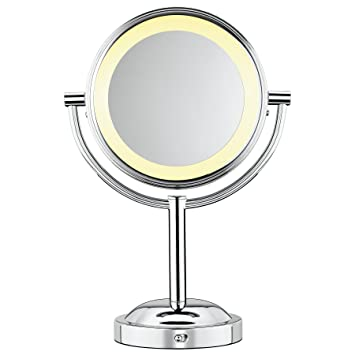 lighted travel makeup mirror 10x round shaped double sided battery operated magnification professional mirrors reviews wall mounted