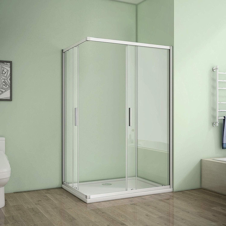 Cabina de ducha esquinera, mampara de ducha, puerta corredera, pared de ducha de 6 mm de vidrio templado de seguridad, altura 185 cm: Amazon.es: Bricolaje y herramientas